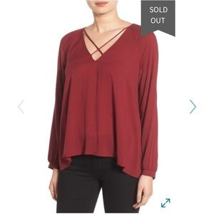 Lush Strappy Long Sleeve Woven Blouse in Cabernet